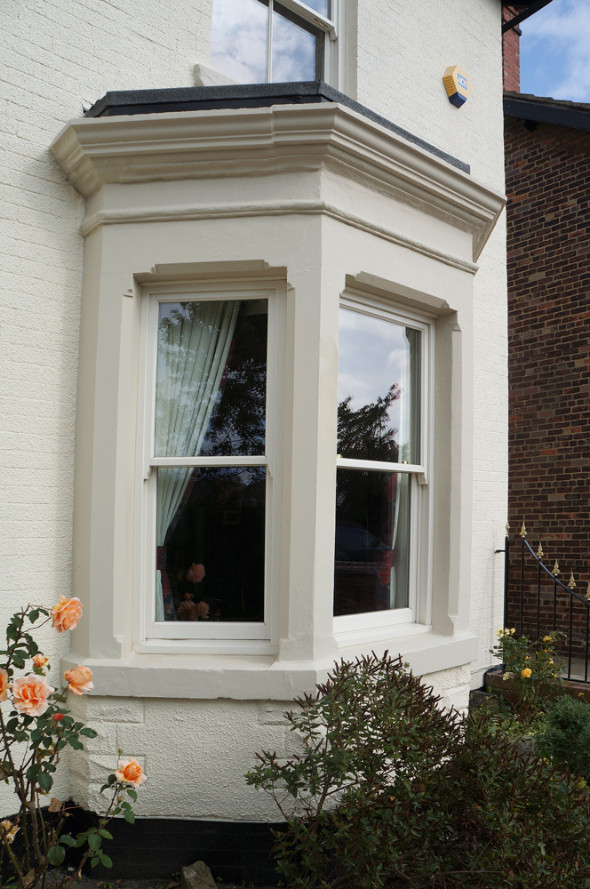 conventional sash box bay window cream