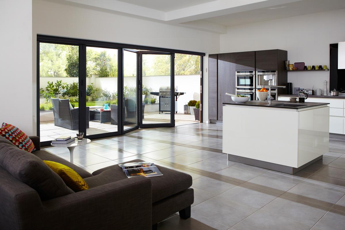 five panel aluminium bifold doors kitcher interior