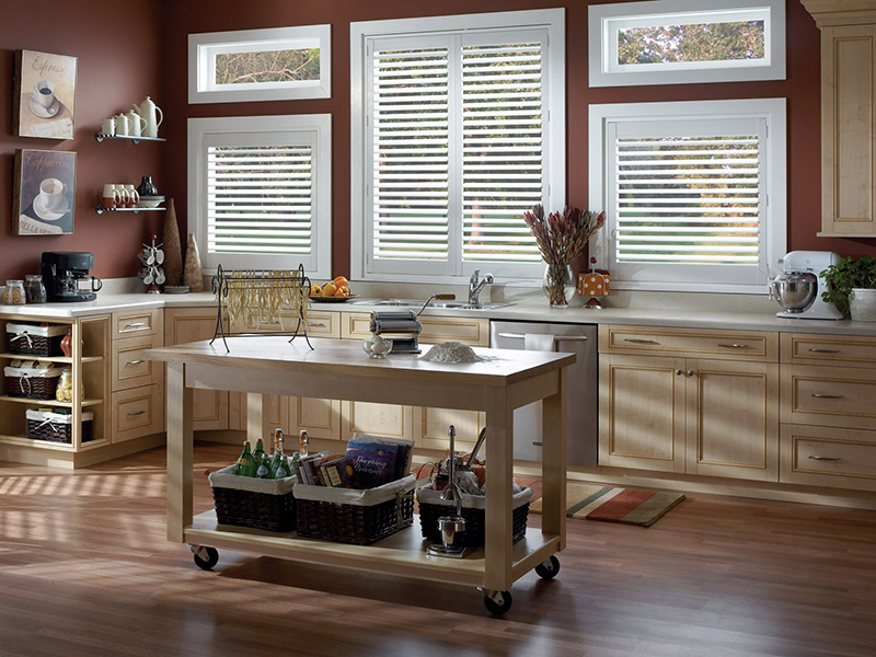 kitchen tilt open plantation shutter white