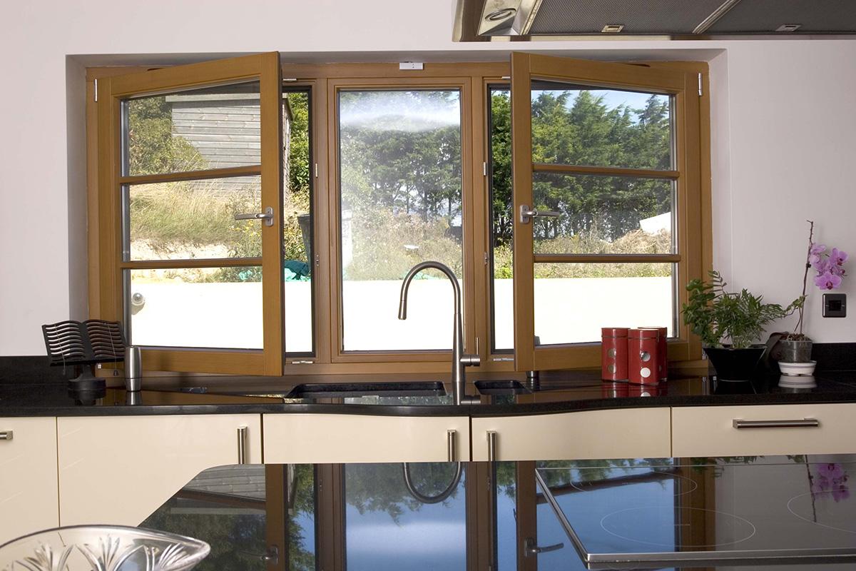 tilt turn casement window stain side open