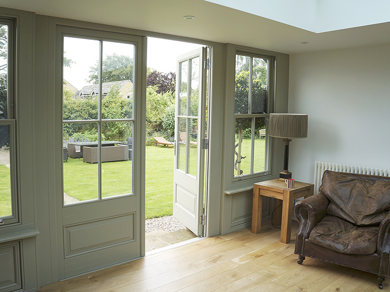 timber french door olive grey panels georgian grid