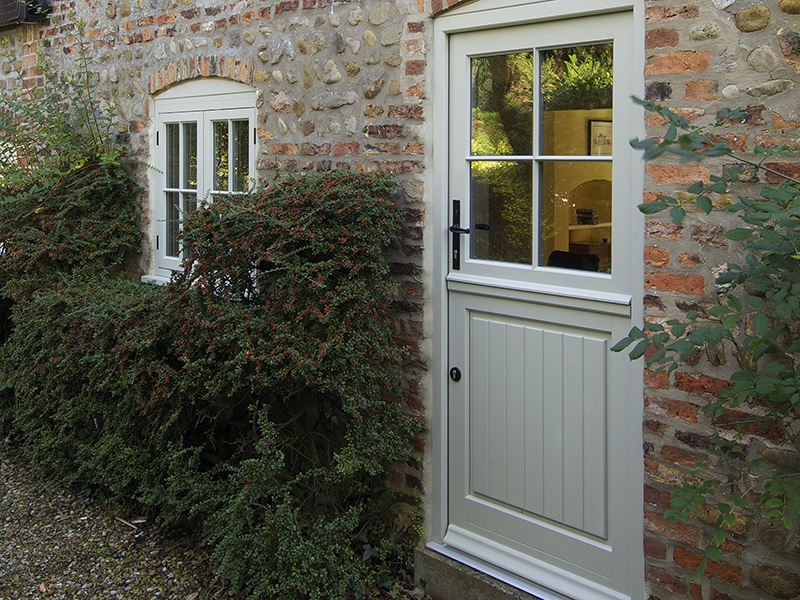 timber stable back entrance door panel glass
