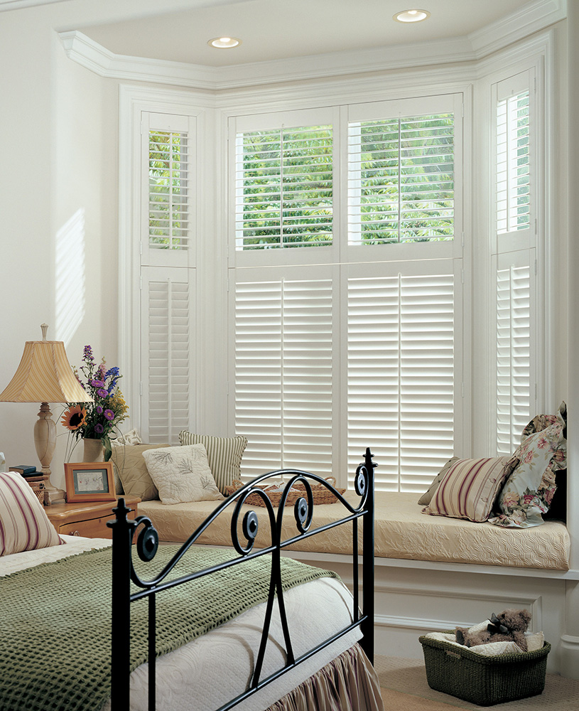 two tier plantation shutter bay window tilt rod