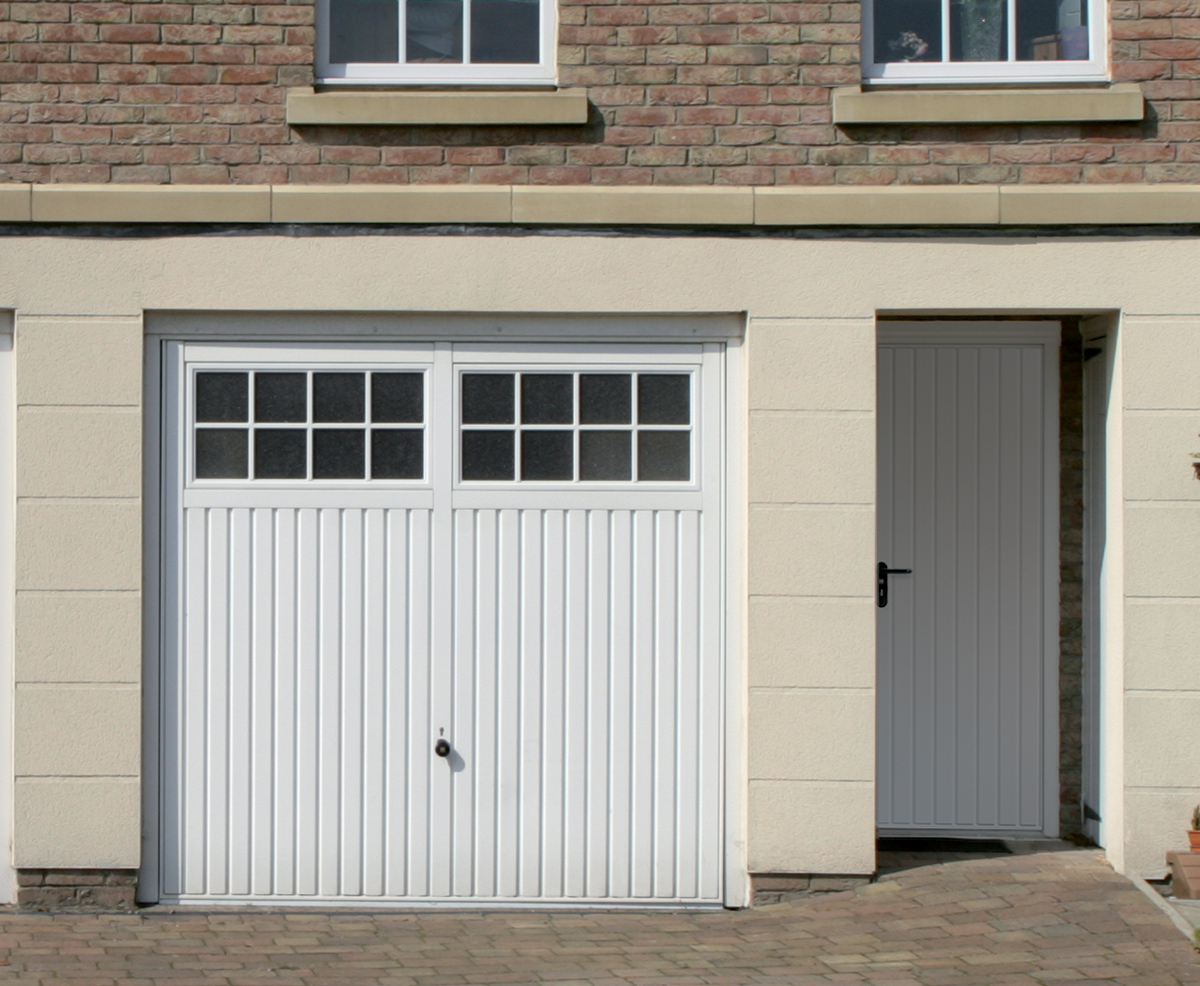 white garage door glass georgian bars up and over